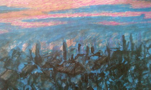 Валерий Кульченко. Вечер в Калаче. 1991 год. Бумага, цветные карандаши.