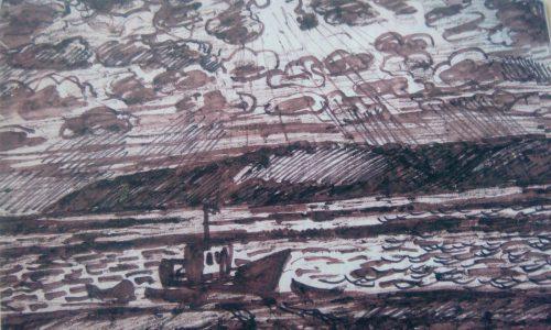 Валерий Кульченко. Черкасово.Затон. Бумага, карандаш, чернила, 1990