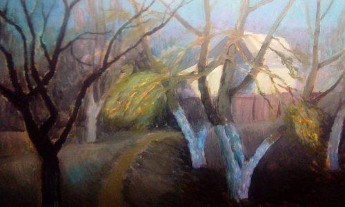 Валерий Кульченко. Полнолуние. 2004 год. Картон, акрил, 50х70