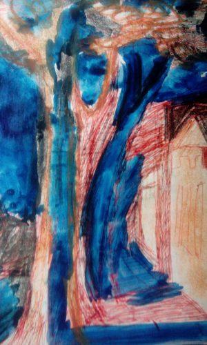 Валерий Кульченко. Ночная улица старого Ростова. Район Кировского и Суворова. Пастель, акварель. 1968 год.
