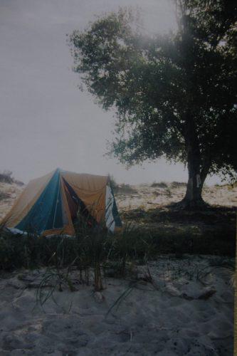 Голубинские пески. Лагерь под вербой ждёт рыбаков с удачной ловли. Калач-на-Дону. Фото: Валерий Кульченко. 1997 год.