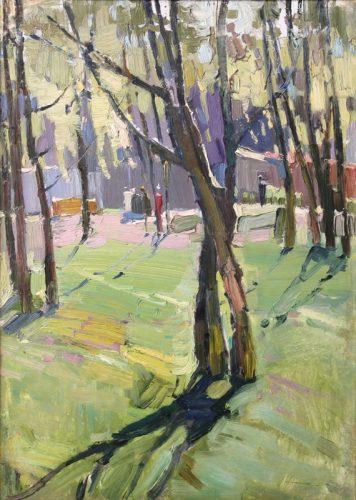 Пётр Келлер. «Весна в ботаническом саду», 1962, к., м., 47,5х34.