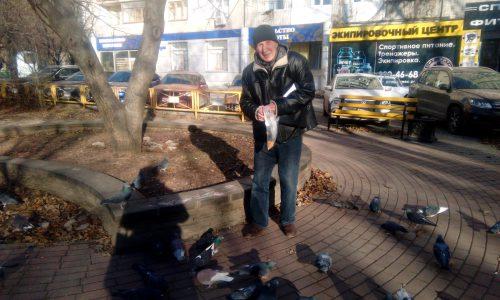 Валерий Иванович Кульченко кормит любимых птиц Пикассо. Фото: Галина Пилипенко