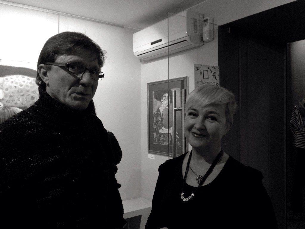 Алексей Курипко, Галина Пилипенко в М-галерее. Фотокарточка: Дмитрий Посиделов. 2015 год