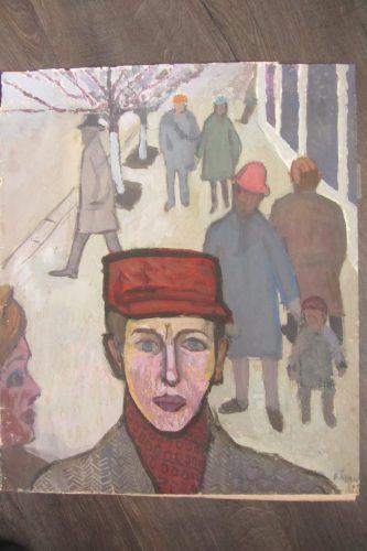 А это - вариант, написанный при жизни Стуканова -Валерий Кульченко. «Однажды в южном городе». Картон, темпера, 60х50.1963 год.