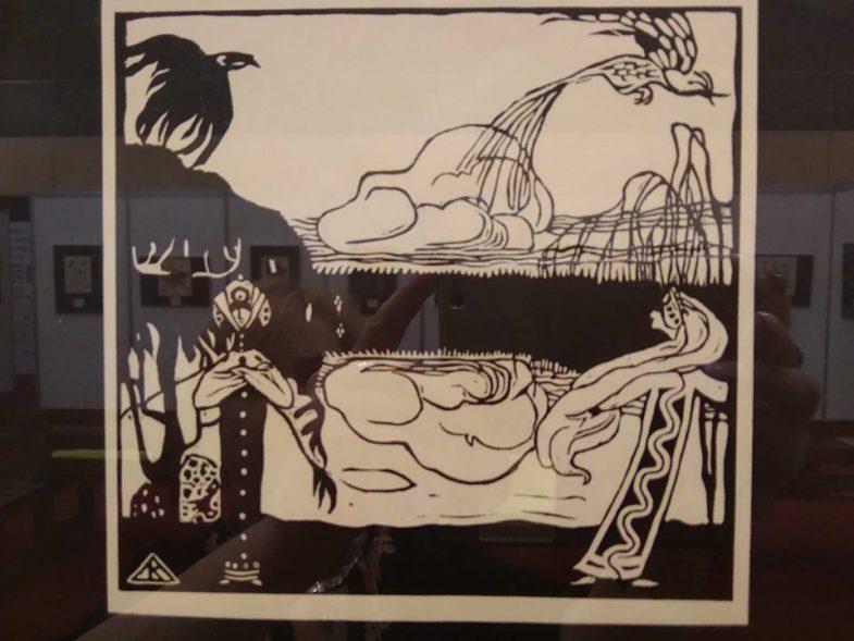 """Vasily Kandinsky. """"The birds"""". Woodcut, 1909.Василий Кандинский. """"Птицы"""". Ксилография, 1909 год. Арт-Ростов 2019. Фото: Галина Пилипенко"""